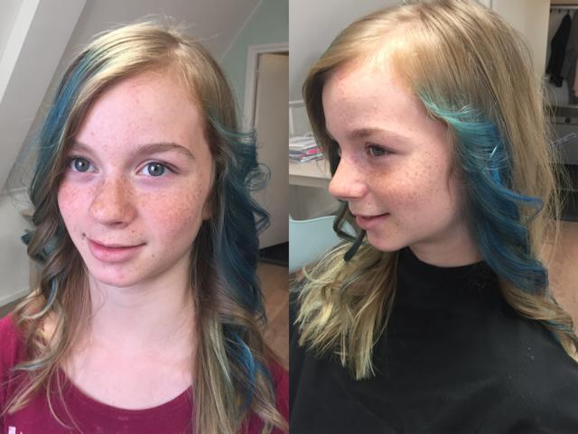 >Deze jongedame wou graag accenten aqua in haar haren, helaas geeft de foto niet de felheid van de kleur goed weer, maar hij is super geworden!